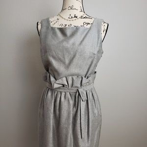 Douglas Hannant Silvery Herringbone Cocktail Dress